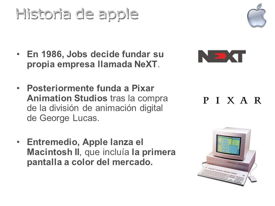 Historia de apple En 1986, Jobs decide fundar su propia empresa llamada NeXT.