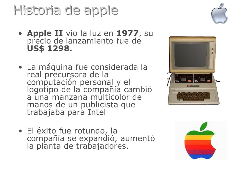 Historia de apple Apple II vio la luz en 1977, su precio de lanzamiento fue de US$ 1298.