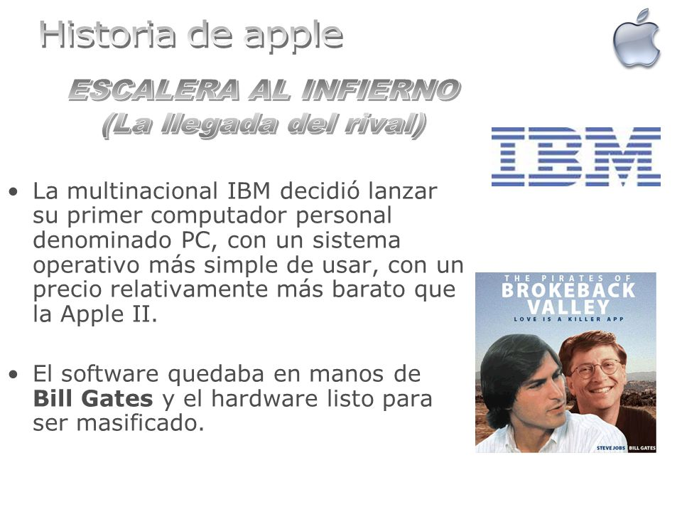 Historia de apple ESCALERA AL INFIERNO (La llegada del rival)