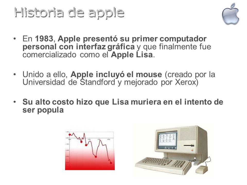 Historia de apple En 1983, Apple presentó su primer computador personal con interfaz gráfica y que finalmente fue comercializado como el Apple Lisa.