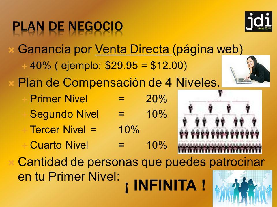 ¡ INFINITA ! PLAN DE NEGOCIO Ganancia por Venta Directa (página web)