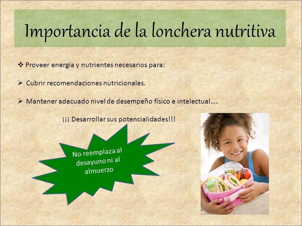 Importancia de la lonchera nutritiva