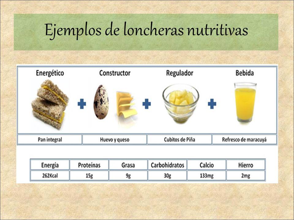 Ejemplos de loncheras nutritivas