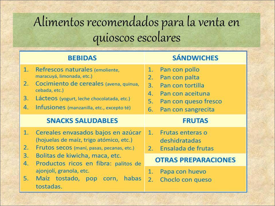 Alimentos recomendados para la venta en quioscos escolares