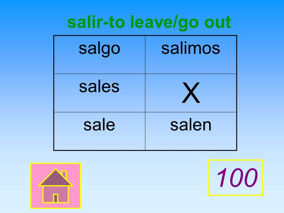salir-to leave/go out salgo salimos sales X sale salen 100