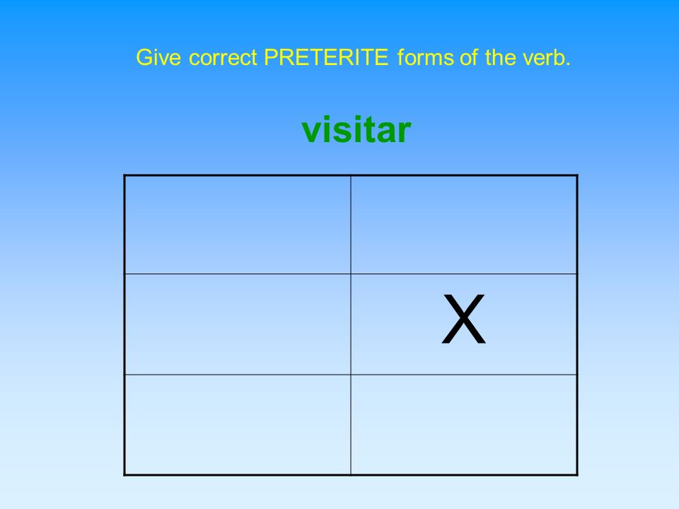 Give correct PRETERITE forms of the verb.