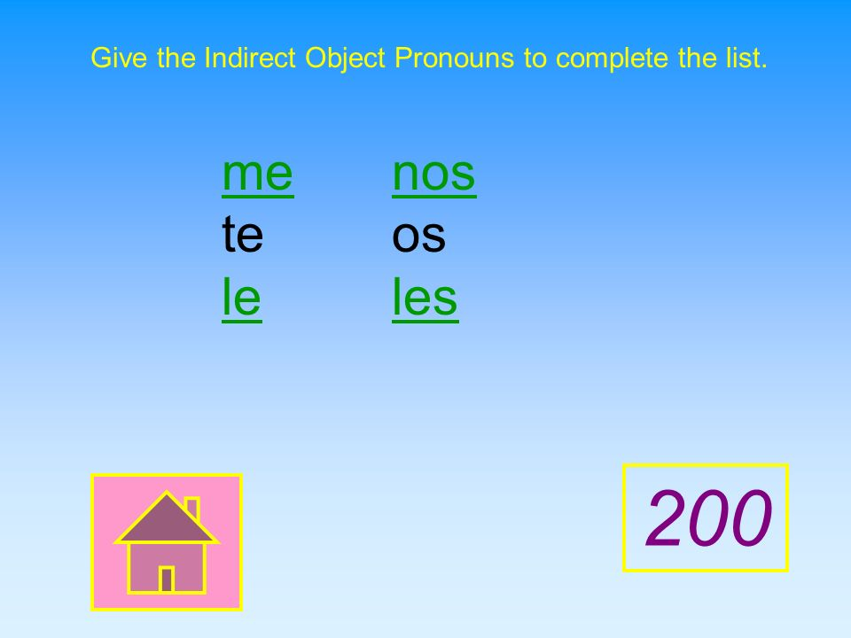 Give the Indirect Object Pronouns to complete the list.