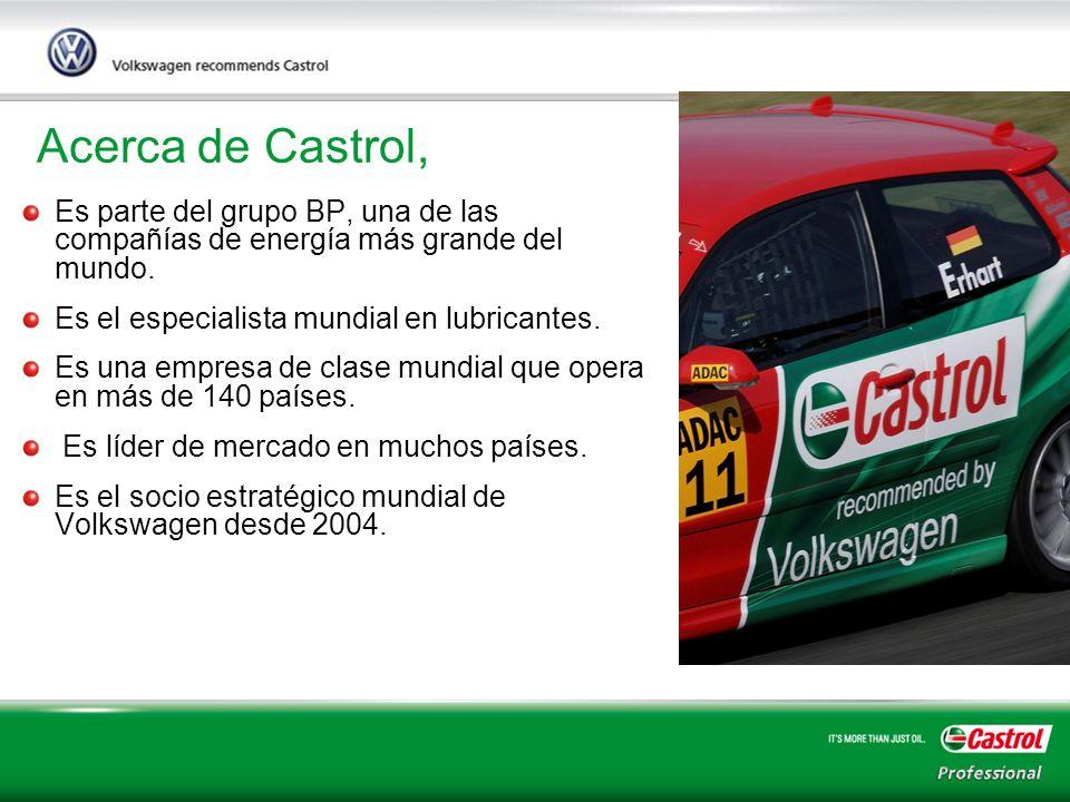 Acerca de Castrol, Es parte del grupo BP, una de las compañías de energía más grande del mundo. Es el especialista mundial en lubricantes.