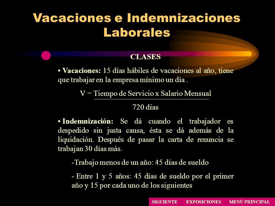Vacaciones e Indemnizaciones Laborales