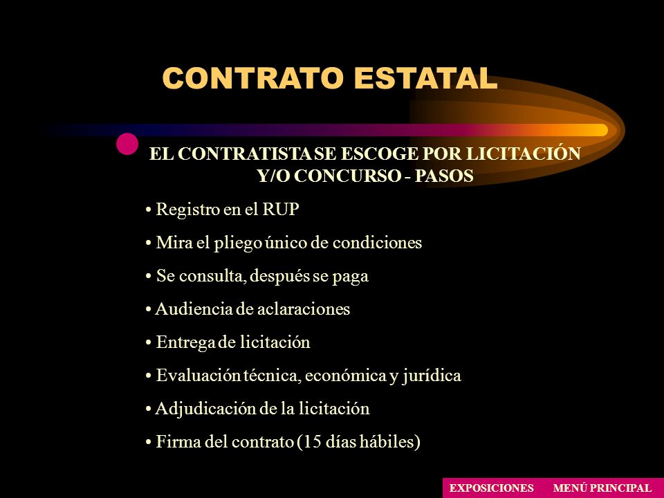 EL CONTRATISTA SE ESCOGE POR LICITACIÓN Y/O CONCURSO - PASOS