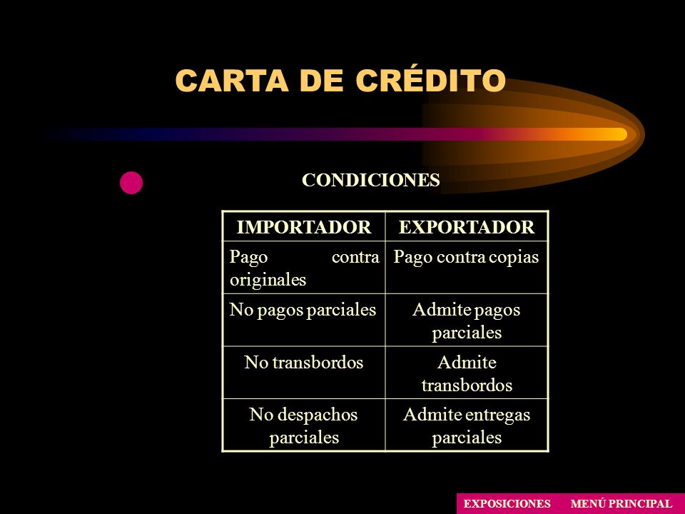 CARTA DE CRÉDITO CONDICIONES IMPORTADOR EXPORTADOR