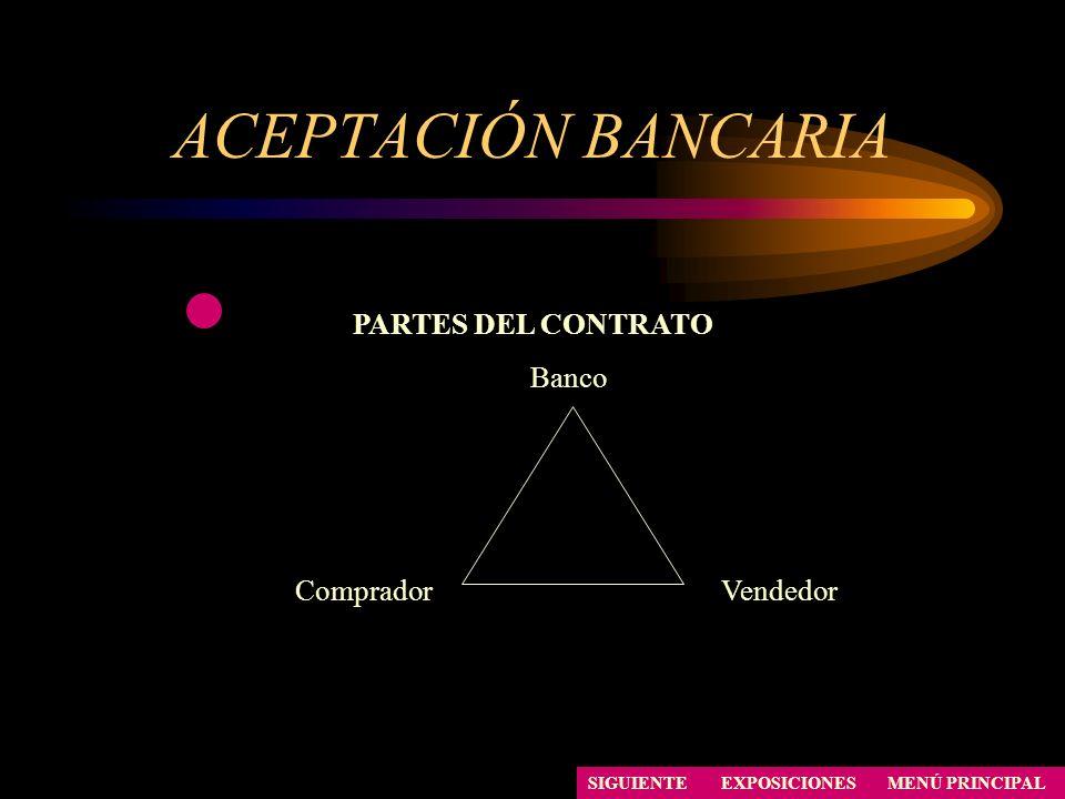 ACEPTACIÓN BANCARIA PARTES DEL CONTRATO Banco Comprador Vendedor