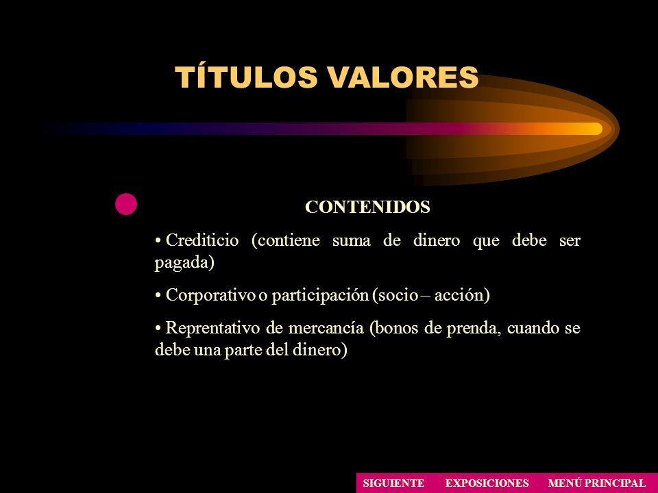 TÍTULOS VALORES CONTENIDOS