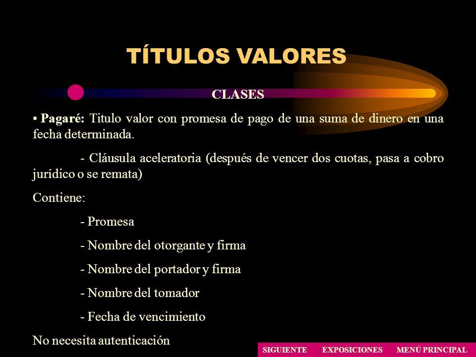 TÍTULOS VALORES CLASES