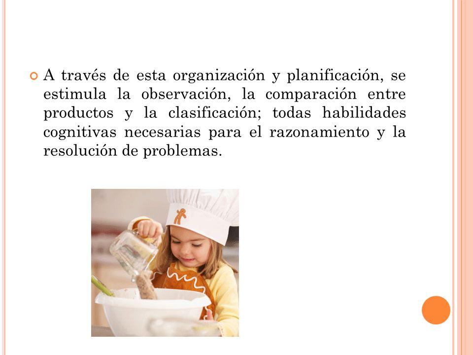 A través de esta organización y planificación, se estimula la observación, la comparación entre productos y la clasificación; todas habilidades cognitivas necesarias para el razonamiento y la resolución de problemas.