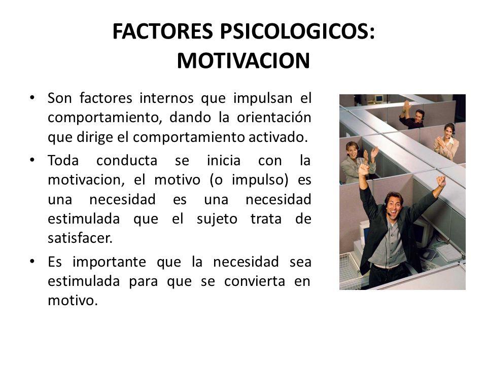 FACTORES PSICOLOGICOS: MOTIVACION
