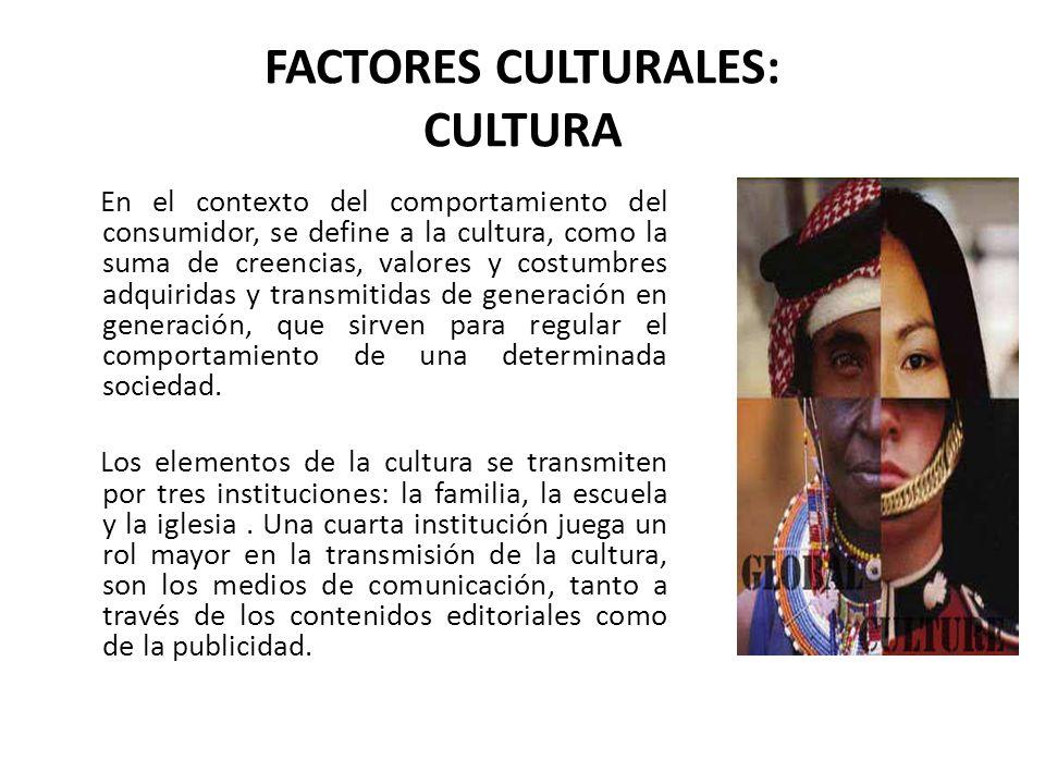 FACTORES CULTURALES: CULTURA