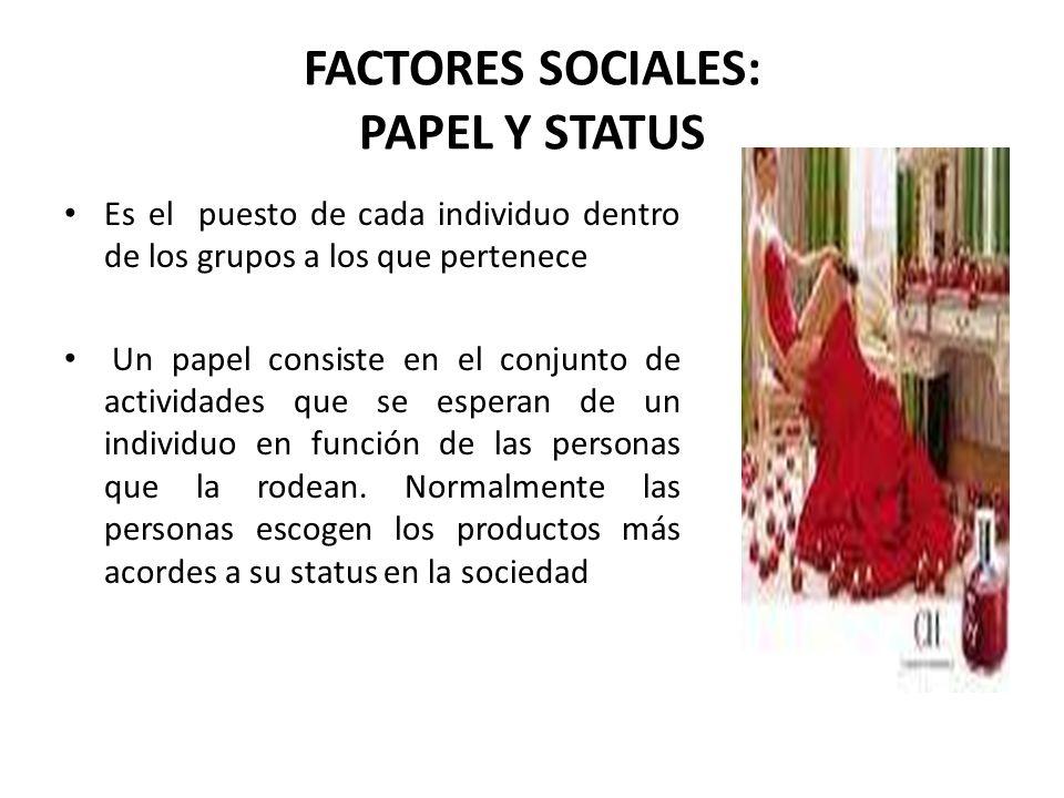 FACTORES SOCIALES: PAPEL Y STATUS