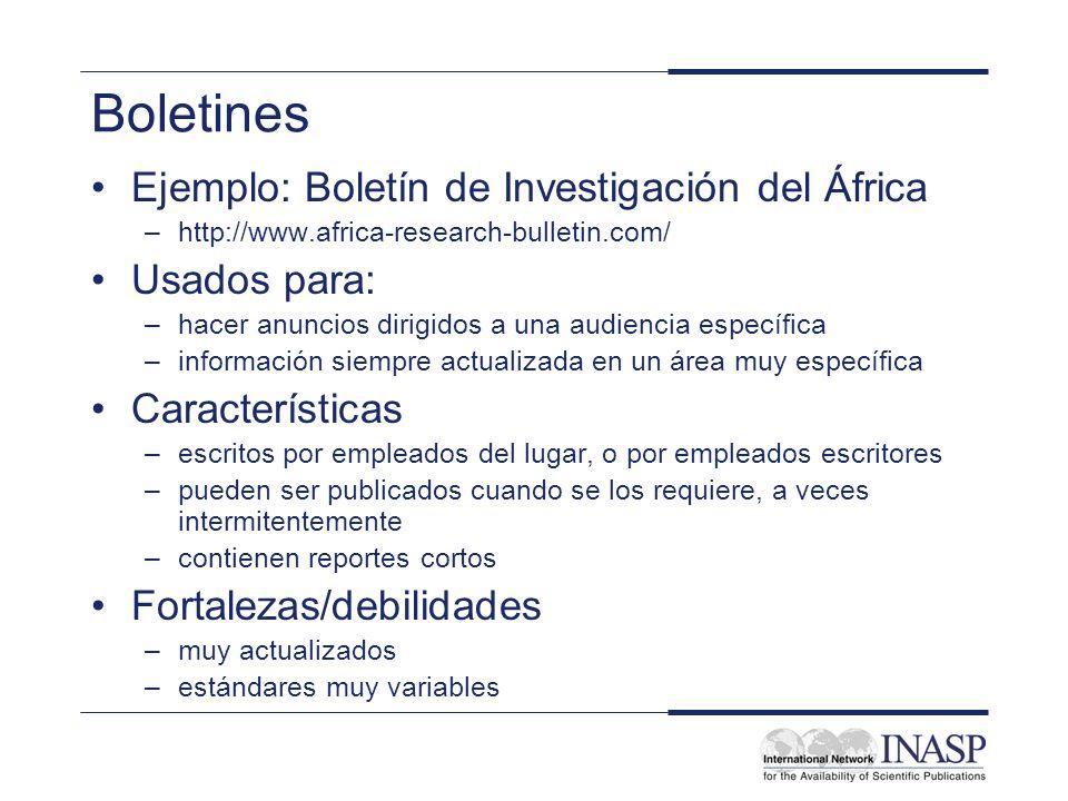 Boletines Ejemplo: Boletín de Investigación del África Usados para: