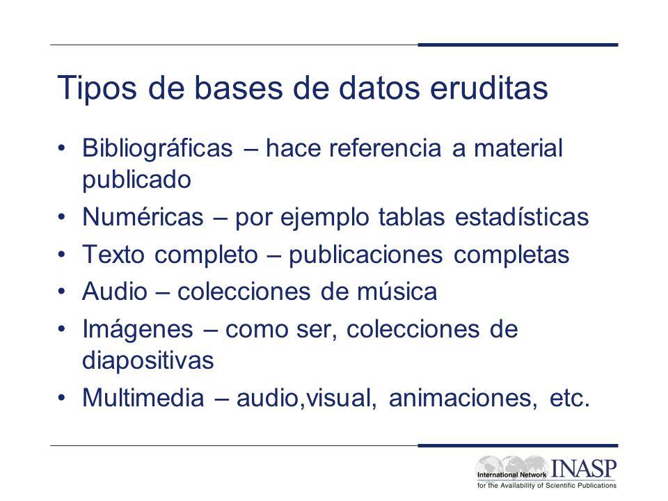 Tipos de bases de datos eruditas