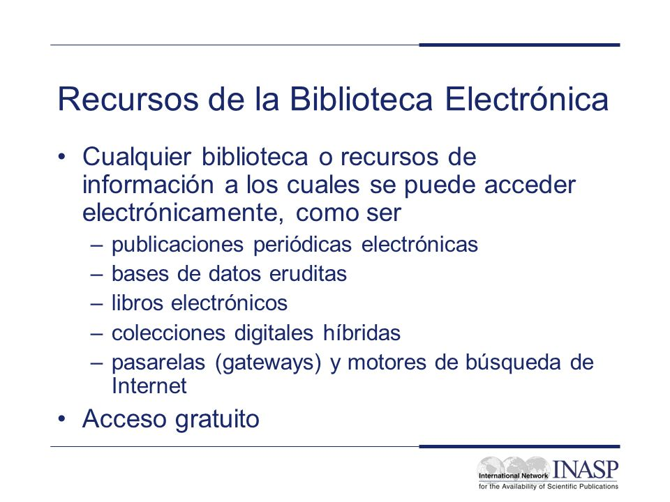 Recursos de la Biblioteca Electrónica