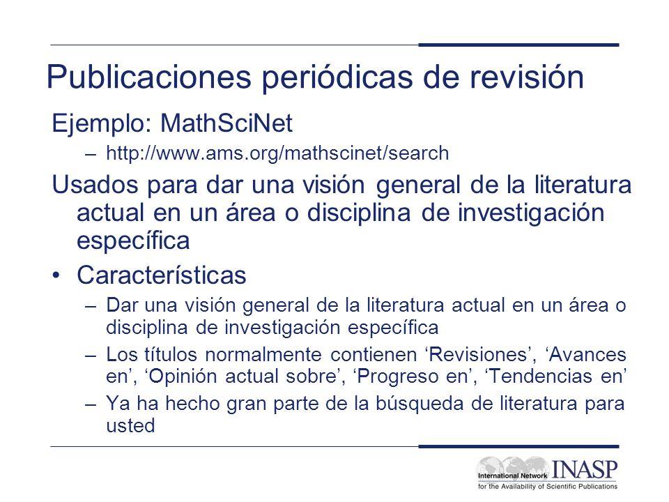 Publicaciones periódicas de revisión