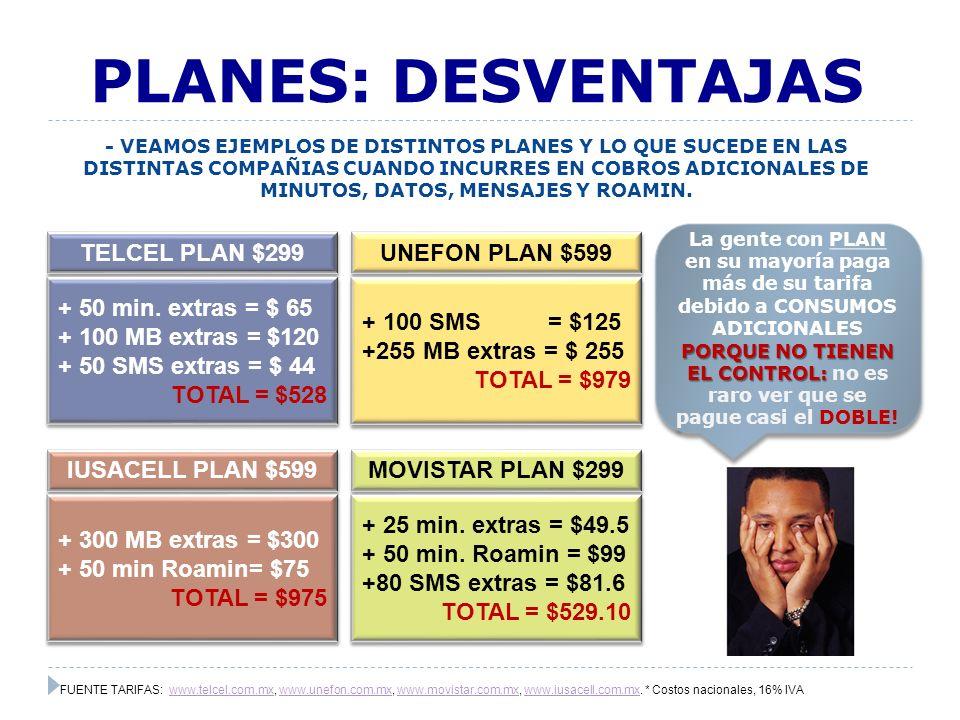 PLANES: DESVENTAJAS TELCEL PLAN $299 UNEFON PLAN $599