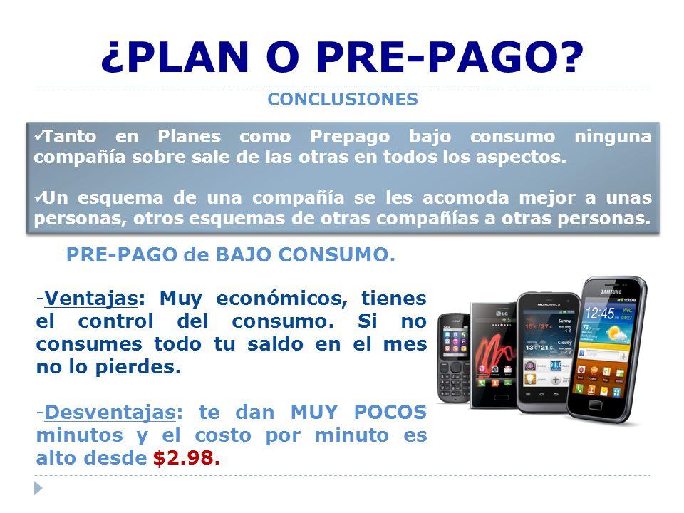 PRE-PAGO de BAJO CONSUMO.