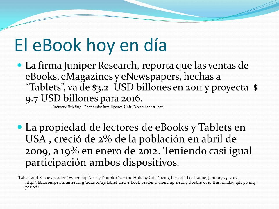 El eBook hoy en día