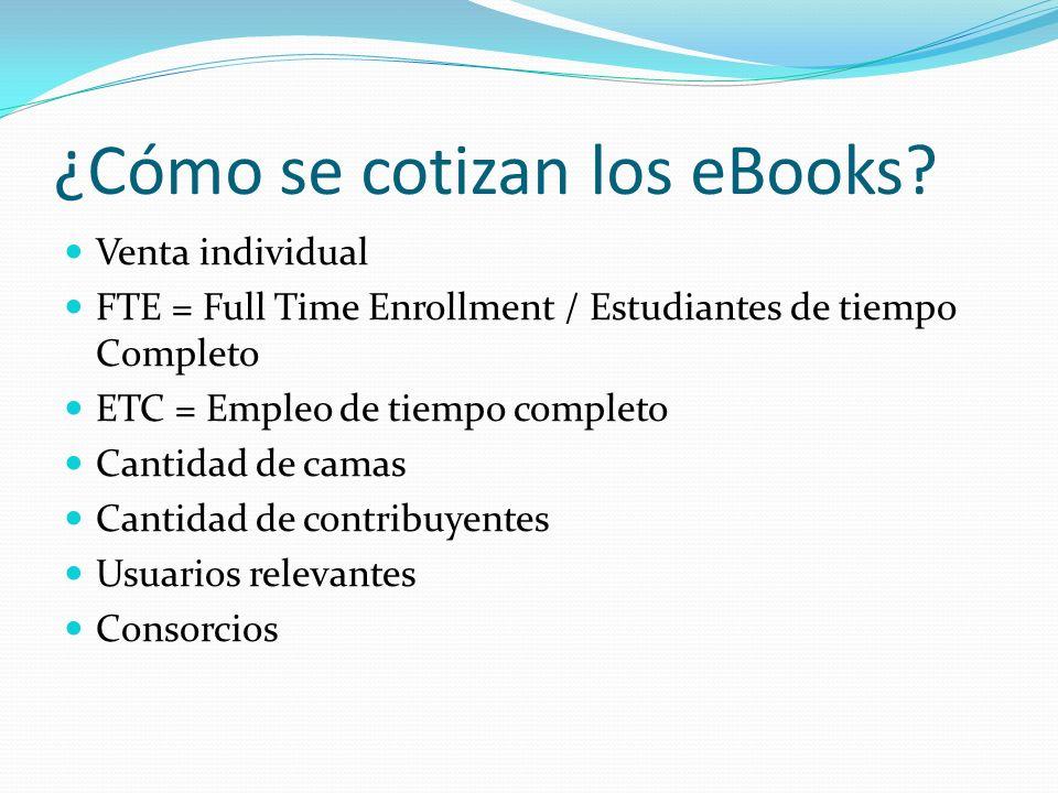 ¿Cómo se cotizan los eBooks