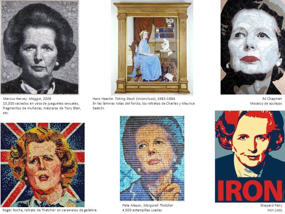 Marcus Harvey. Maggie, 2009 15,000 vaciados en yeso de jueguetes sexuales, fragmentos de muñecas, máscaras de Tony Blair, etc.