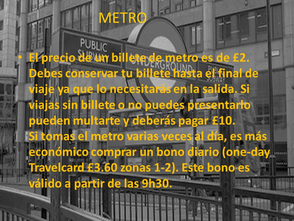 METRO Metro de Londres.