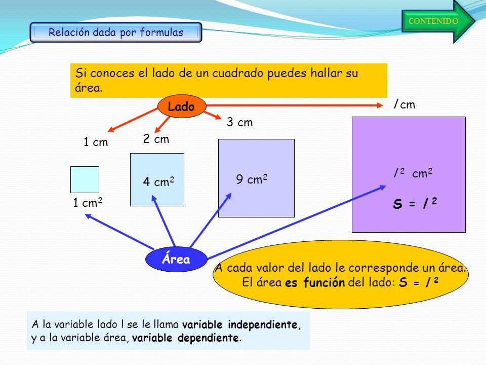 S = l 2 Si conoces el lado de un cuadrado puedes hallar su área. Lado