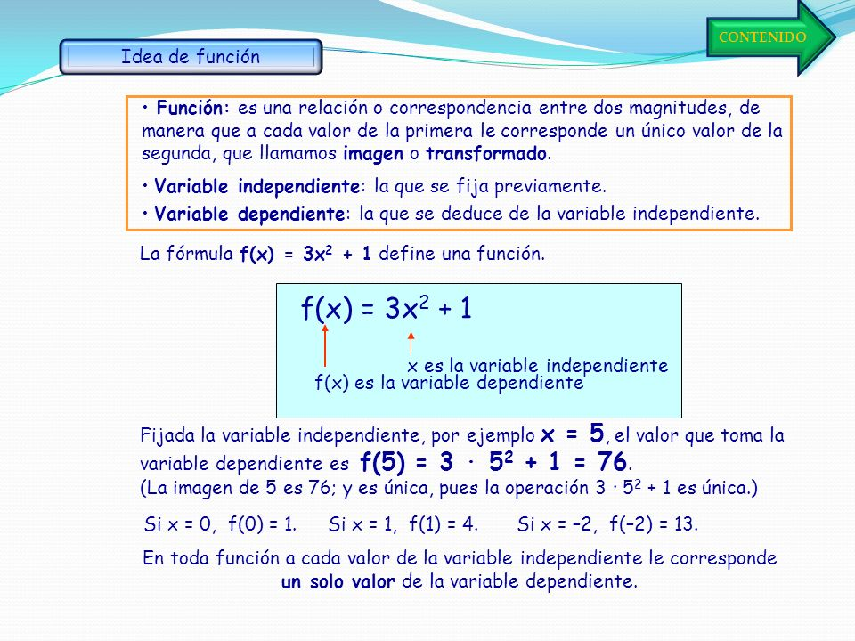 f(x) = 3x2 + 1 Idea de función