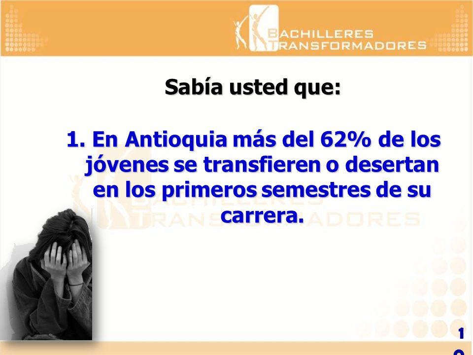 Sabía usted que: En Antioquia más del 62% de los jóvenes se transfieren o desertan en los primeros semestres de su carrera.