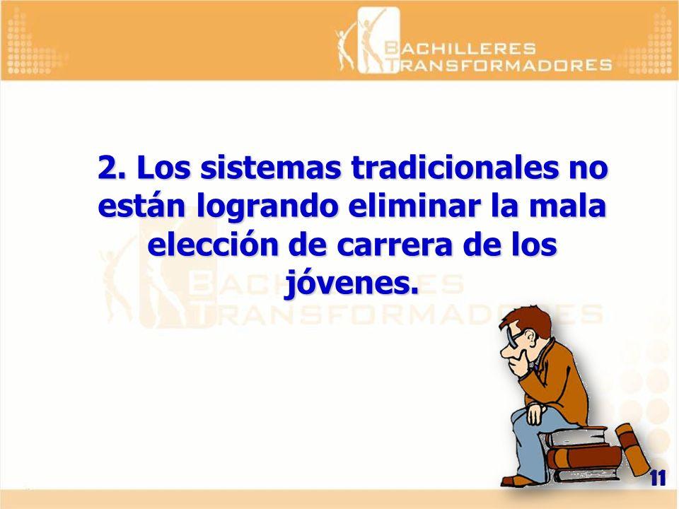 2. Los sistemas tradicionales no están logrando eliminar la mala elección de carrera de los jóvenes.