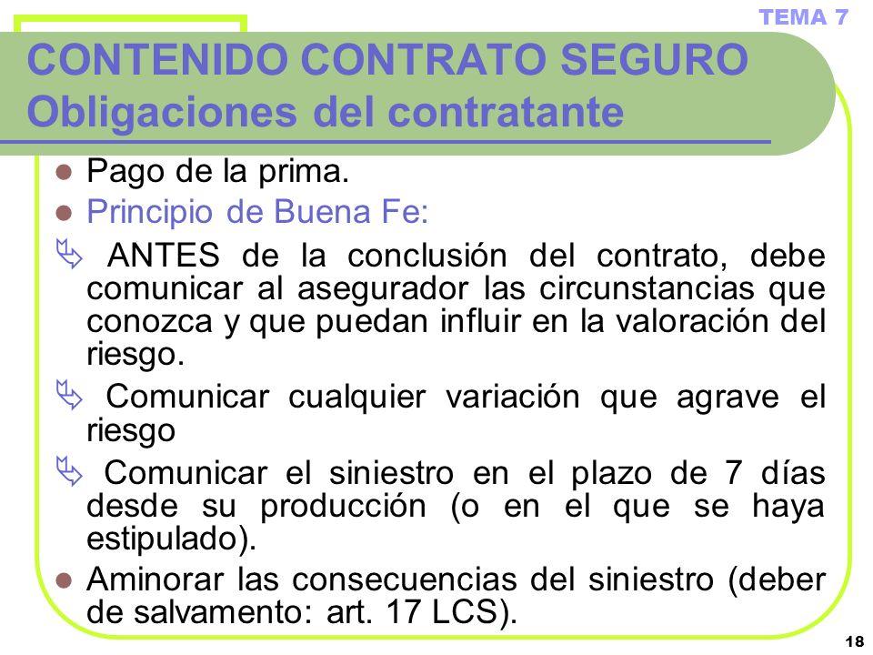 CONTENIDO CONTRATO SEGURO Obligaciones del contratante