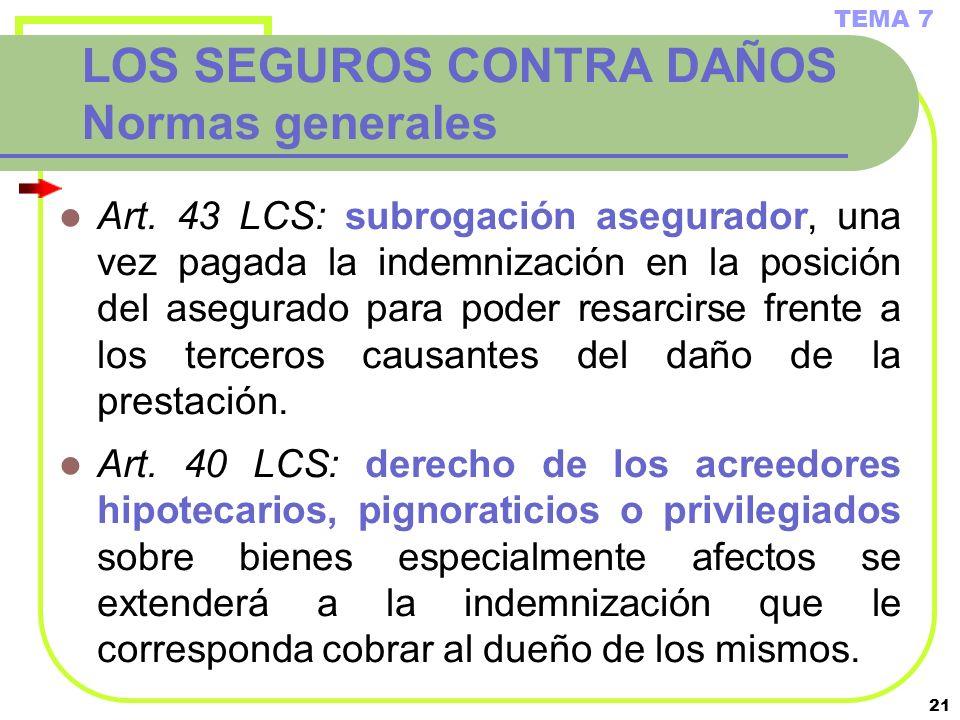 LOS SEGUROS CONTRA DAÑOS Normas generales
