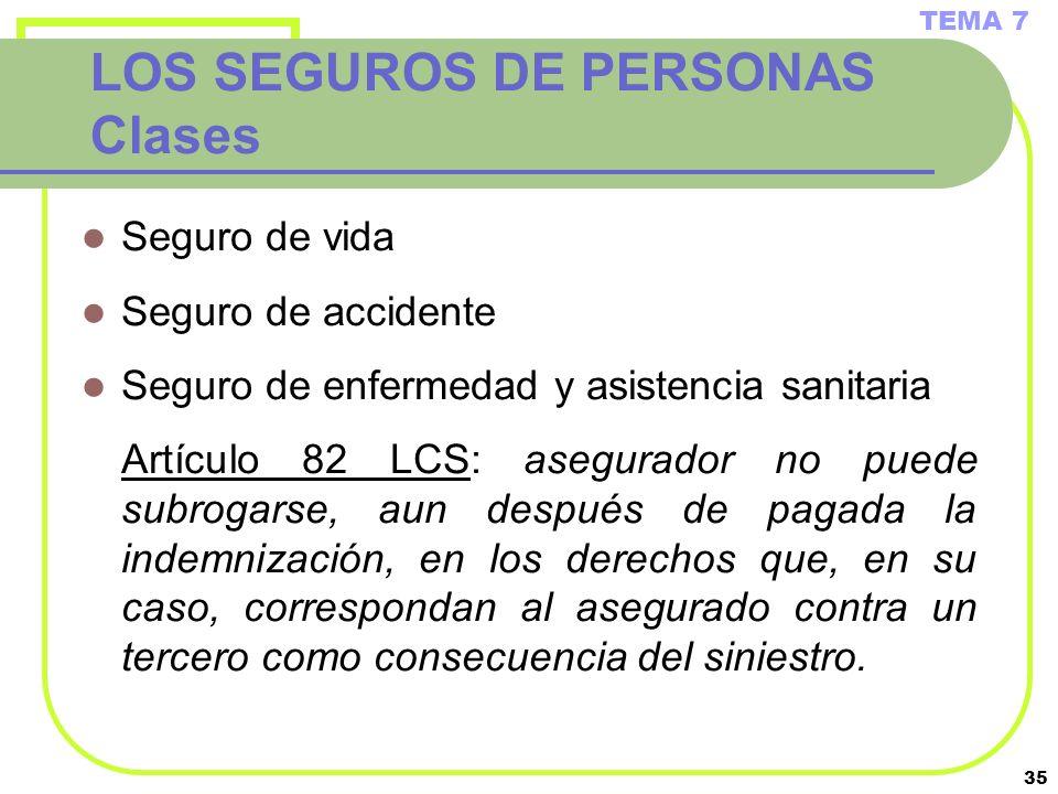 LOS SEGUROS DE PERSONAS Clases