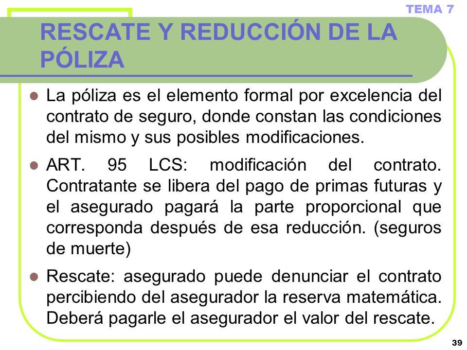 RESCATE Y REDUCCIÓN DE LA PÓLIZA
