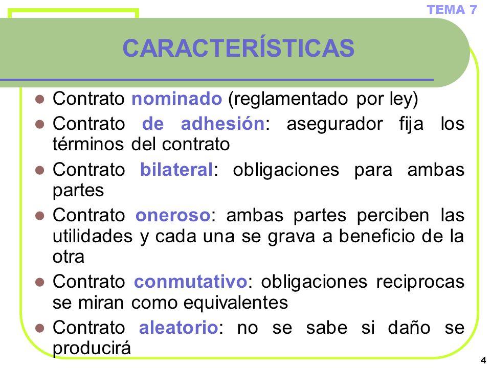 CARACTERÍSTICAS Contrato nominado (reglamentado por ley)