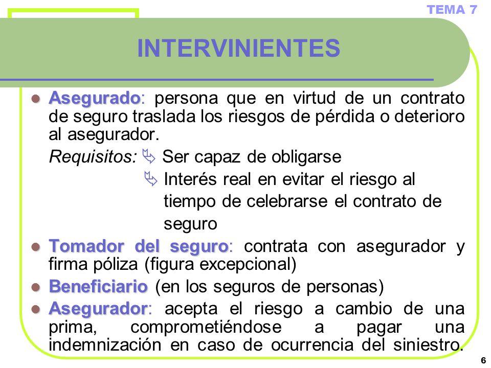 TEMA 7 INTERVINIENTES. Asegurado: persona que en virtud de un contrato de seguro traslada los riesgos de pérdida o deterioro al asegurador.