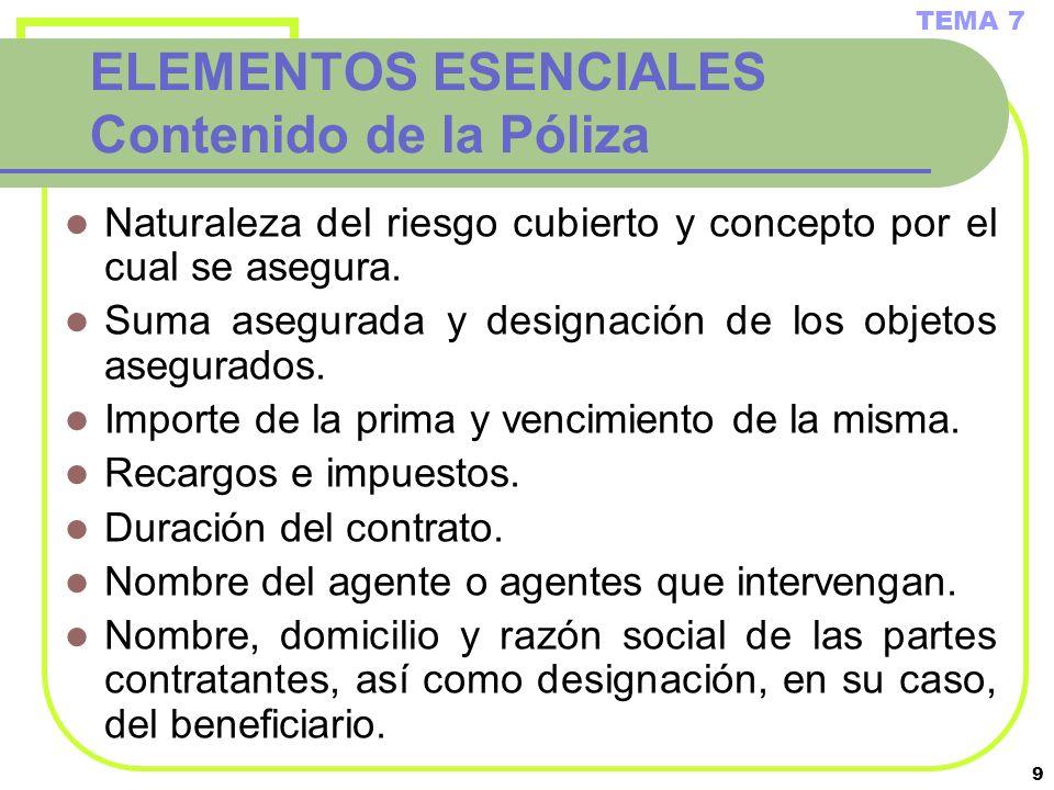 ELEMENTOS ESENCIALES Contenido de la Póliza