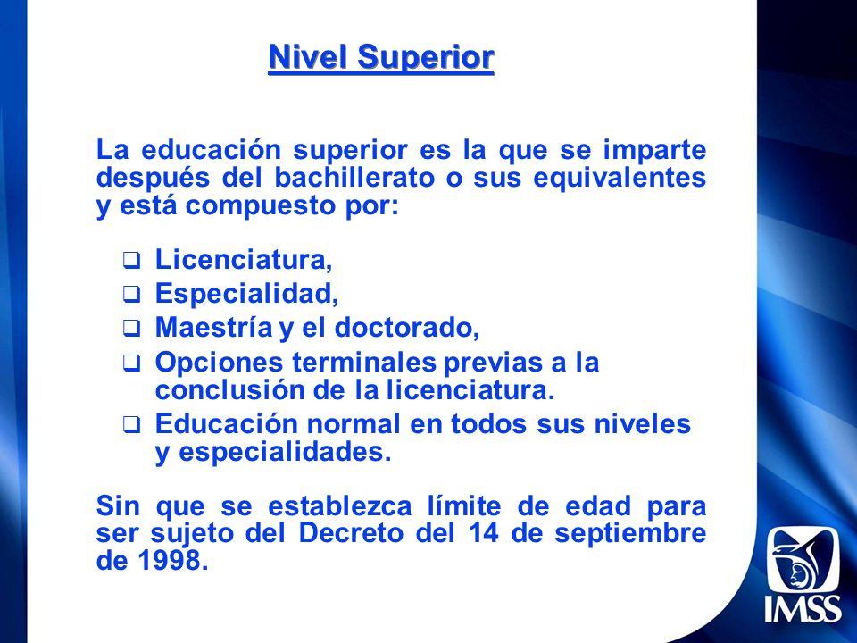 Nivel Superior La educación superior es la que se imparte después del bachillerato o sus equivalentes y está compuesto por: