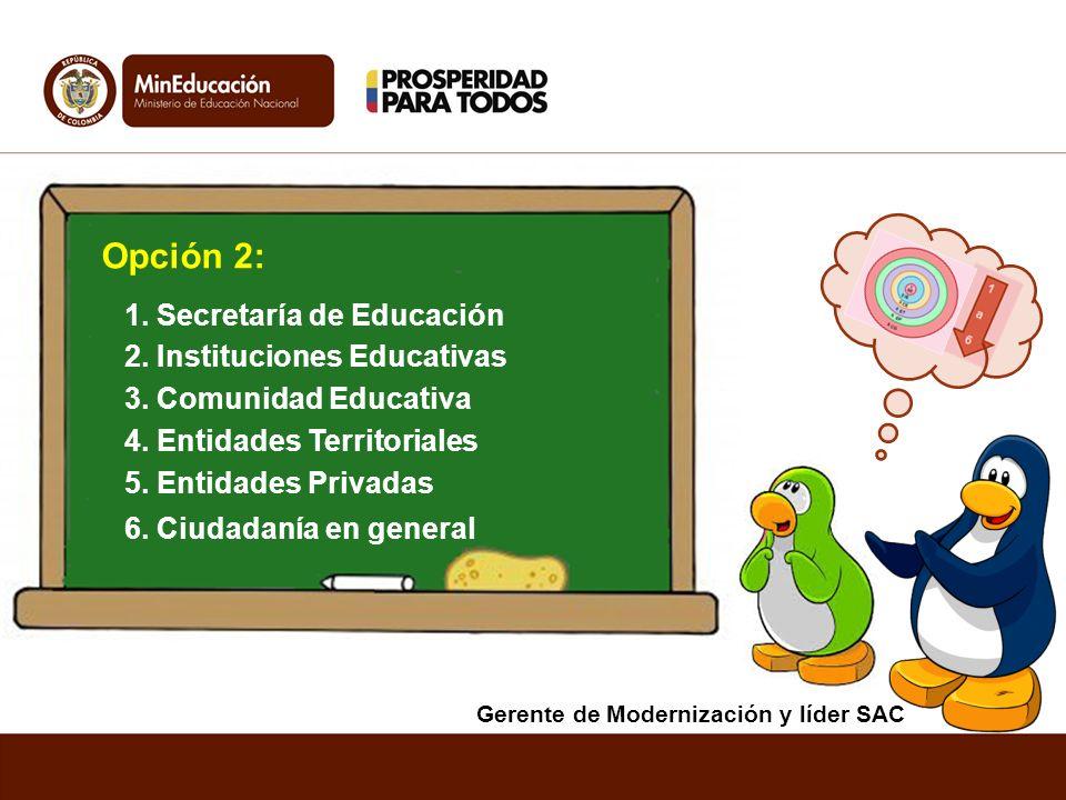 Opción 2: 1. Secretaría de Educación 2. Instituciones Educativas