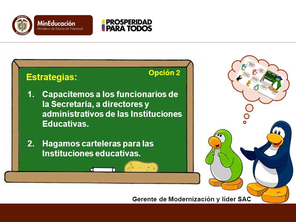 Opción 2 Estrategias: Capacitemos a los funcionarios de la Secretaría, a directores y administrativos de las Instituciones Educativas.