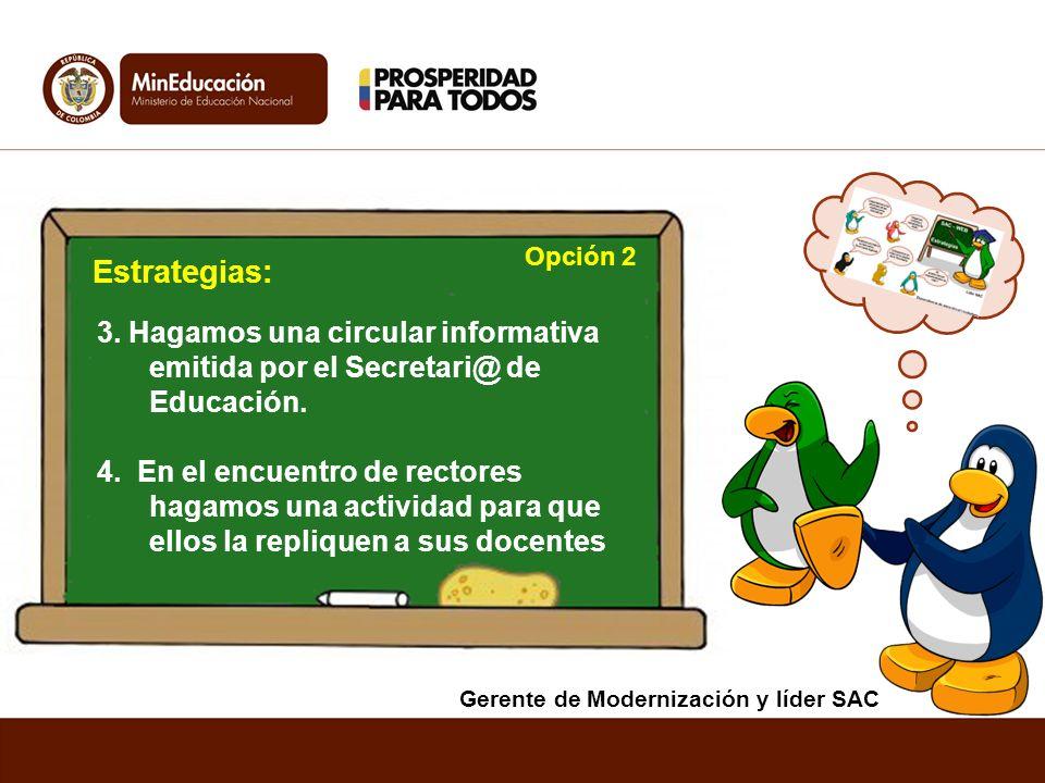 Opción 2 Estrategias: 3. Hagamos una circular informativa emitida por el Secretari@ de Educación.