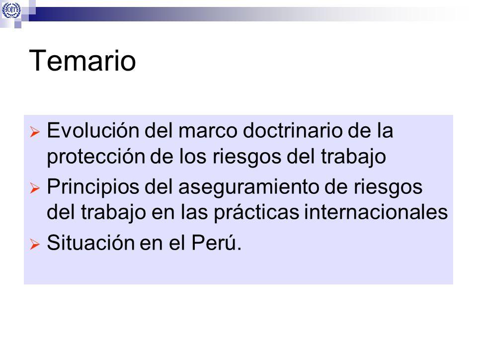 Temario Evolución del marco doctrinario de la protección de los riesgos del trabajo.