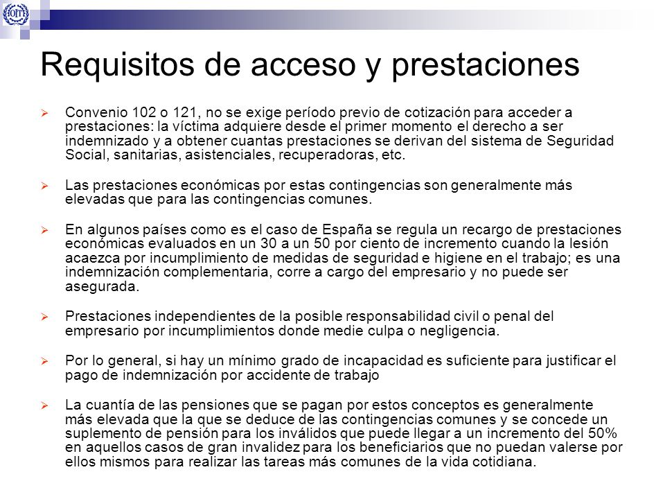Requisitos de acceso y prestaciones