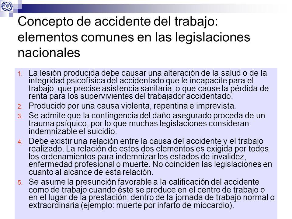 Concepto de accidente del trabajo: elementos comunes en las legislaciones nacionales